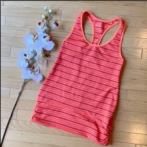 ZELLA tank top size Medium orange grey stripes